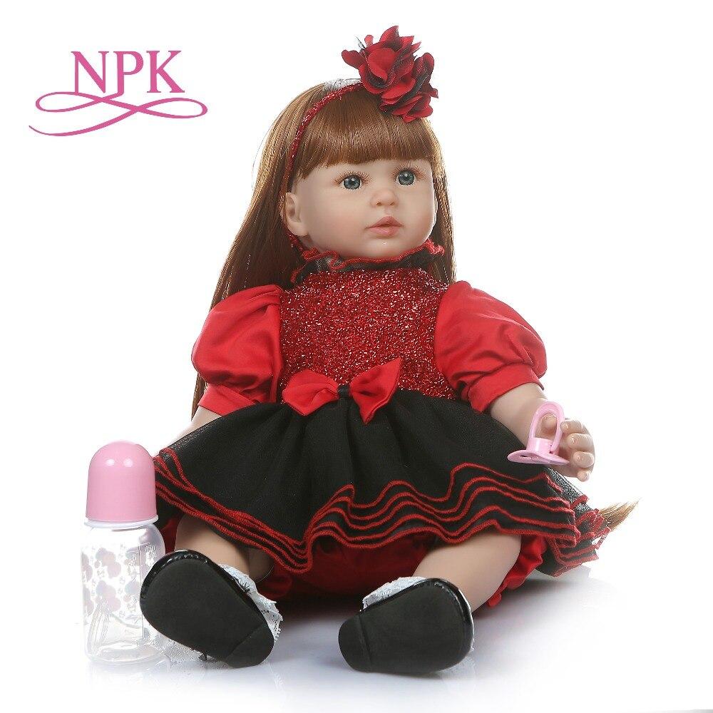 Oyuncaklar ve Hobi Ürünleri'ten Bebekler'de NPK 60 CM reborn yürümeye başlayan kız gerçekçi yumuşak silione vinil bebe bebek reborn uzun düz saç 6 Ay gerçek bebek boyutu bebek'da  Grup 1