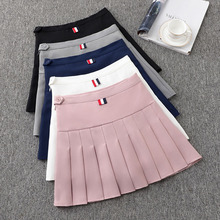 2019 Preppy Style High Waist Chic Striped Stitching Skirt Student Elastic Pleated Women Cute Sweet Girls Dance