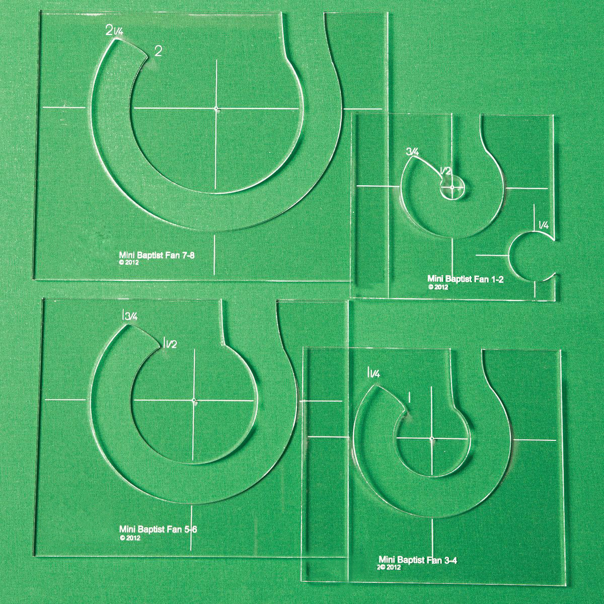 TEMPLATE RULER FOR QUILTING EXPANSION PACK SET OF 4 FOR SEWING MACHINES #MBF-04