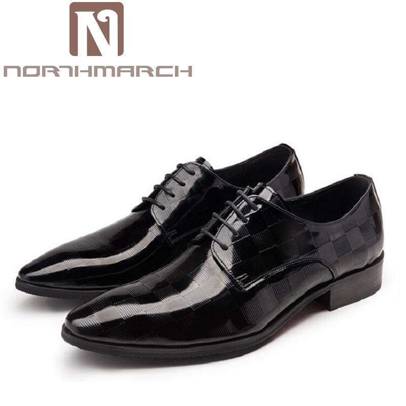 NORTHMARCH Mens Patent Leather Office Shoes Spring Lace Up Black Wedding Business Oxfords Brand Pointed Toe Men Dress Shoes 2017 men s cow leather shoes patent leather dress office wedding party shoes basic style pointed toe lace up eu38 44 size