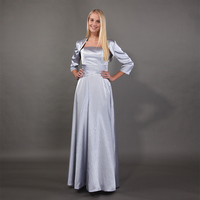 Silver Mother Of The Bride Dresses With Jacket Three Quarter Length Sleeves Simple Pleats Satin Mothers Party Dresses 2019