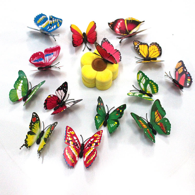 100pcs/lot Simulation Butterfly 7cm/4cm PVC Home Decoration Buterfly Wall Stickers Home Decal Magnet Crafts Holiday Decoration