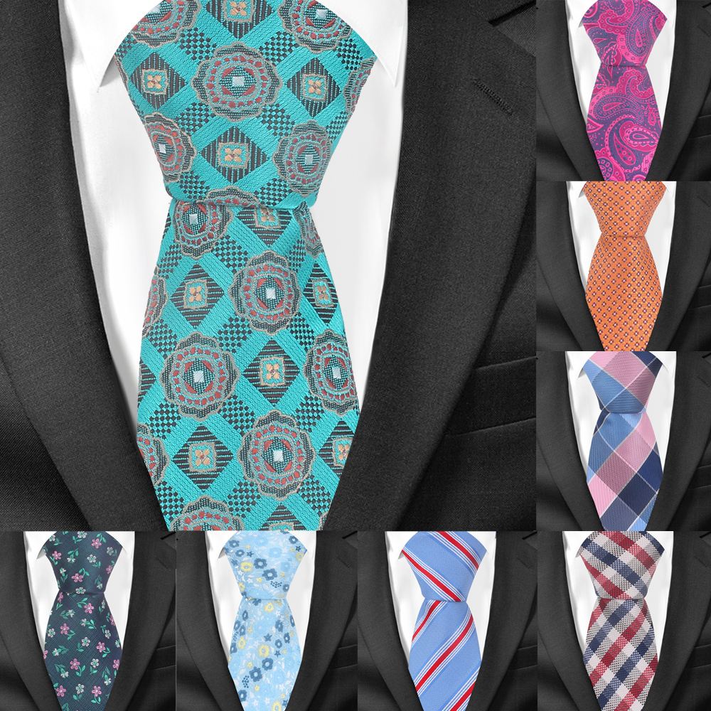 Polyester Jacquard Floral Tie For Men Women Fashion Striped Neck Tie For Wedding Business Suits Skinny Ties Men Necktie Gravatas