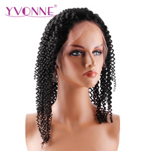 YVONNE 180% Density Kinky Curly Brazilian Virgin Hair Lace Front Wigs For Black Women Human Hair Natural Color Free Shipping