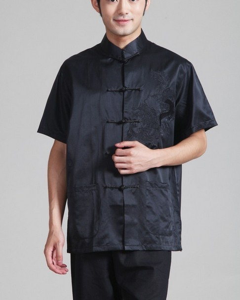 Summer Black 100% silk Chinese tradition Men's Kung Fu shirt top Plain Short Sleeves S M L XL XXL XXXL YF1179