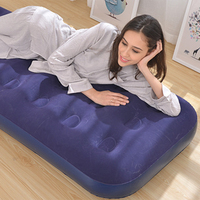 PVC Easy Inflatable Flocked Airbed Twin Size Inflatable Mattress Built In Foot Pump/Pillow For Camping Outdoor Home