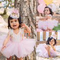 Cute Girls Christmas Baby Girl Lace Romper Tutu Tulle Skirts Fancy Outfits Set Costume 0-2T