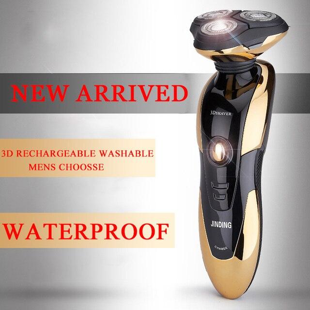 Бесплатная доставка водонепроницаемый электронный аккумуляторные бритвы трехместный лезвие 3 сегмент электрические бритвы для бритья мужчин уходу за лицом 3D плавающей