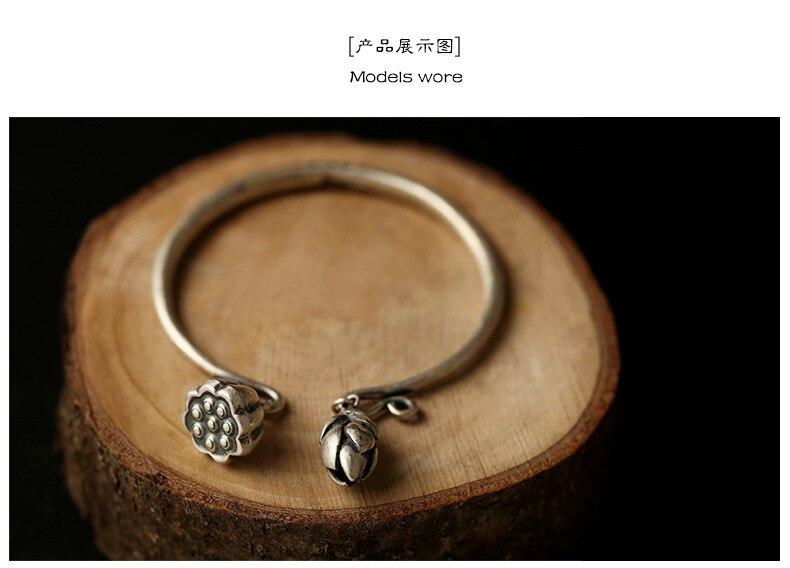 Manuel 925 bracelet en argent sterling Thai argent lotus braceletManuel 925 bracelet en argent sterling Thai argent lotus bracelet