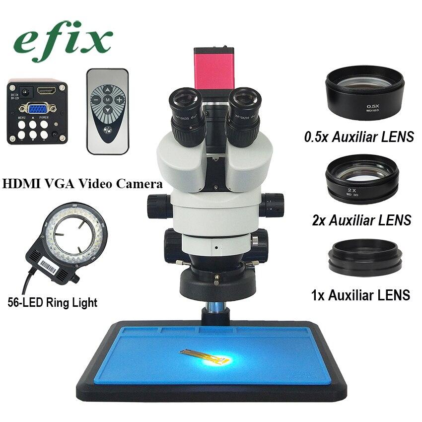 efix 13MP HDMI VGA HD 3 5 90X Trinocular Stereo Microscope Continuous Zoom Video Camera Mobile