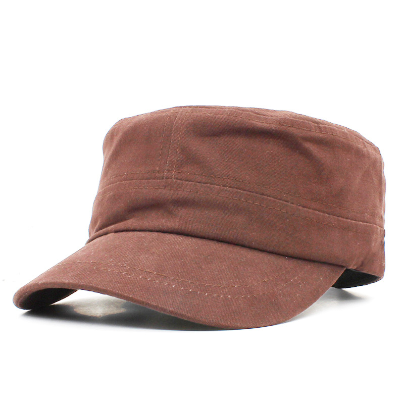 Solid Men Military Hat Adult Fashion Summer Autumn Brand Classic Vintage Adjustable Flat Top Cap For Women AD105
