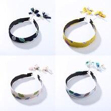 Korean Fashion Long Chain Tassel Chiffon Cloth Floral Hairband Simulated Pearls Hair Bands for Women Girls Accessories New