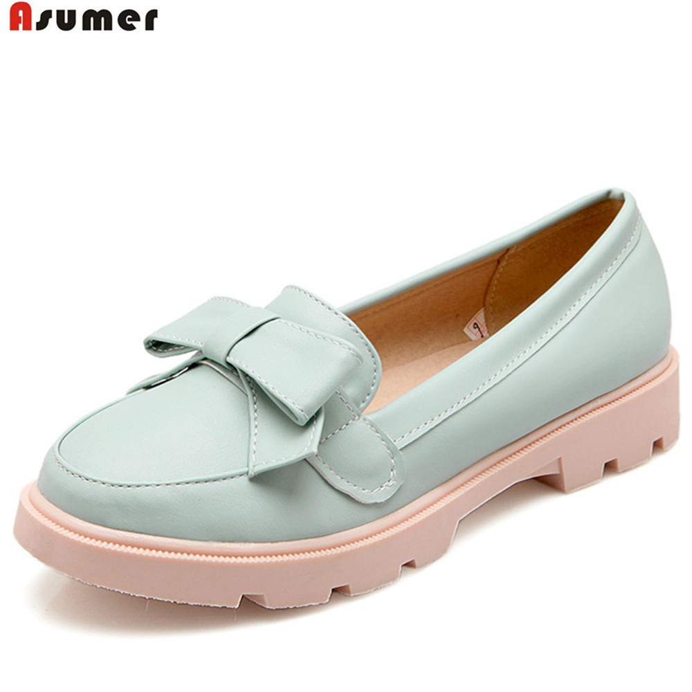 ASUMER white pink fashion spring autumn new 2018 ladies shoes round toe casual shoes big size 34-43 women flat shoes asumer 2018 fashion apring autumn new