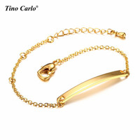 Free Engraving Personalized Stainless Steel Thin ID Tag Name Initial Monogram Bar Bracelets For Women Girls