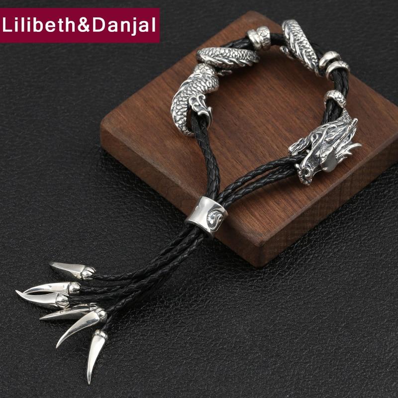 2019 Couple Adjustable Bracelet 100 925 Sterling Silver Women Men Leather Black Weave Rope Dragon Bracelet