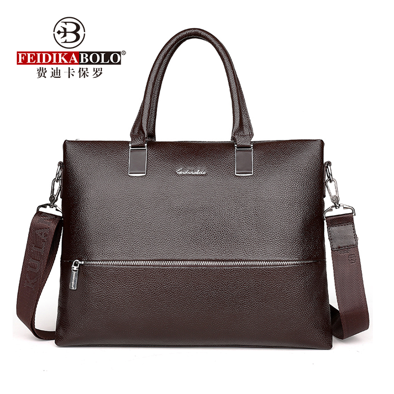 FEIDIKABOLO Cow Leather Men's Handbag New Fashion High-Capacity Business Bag Leisure Shoulder Messenger Computer Bag
