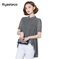 Chiffon Blouse Women 2017 Summer Elegant Ladies Office Wear Strip Irregular Hem High Low Shirts Casual