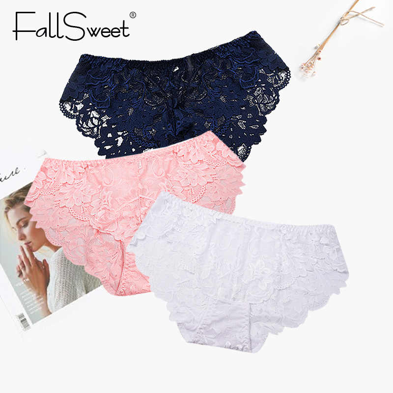 c5fa83ce55e9 FallSweet Women Full Lace Panties Solid Sexy Briefs Female Plus Size  Underwear Mid Rise 4XL