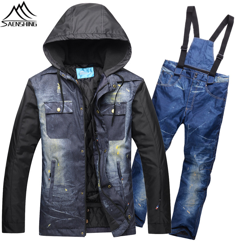 SAENSHING Denim Snowboarding Suits Men Warm Waterproof Ski Jacket Breathable Winter Ski Suit Male Mountain Skiing Suit Snow Sets libo breathable fitness sleeveless basketball suits for male