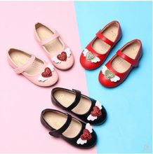 NEW Baby Kids Shoes for Girls Princess Wing Red Heart Shoes Baby Girls PU Leather Shoes Children Kids Soft Bottom Flats J87(China)