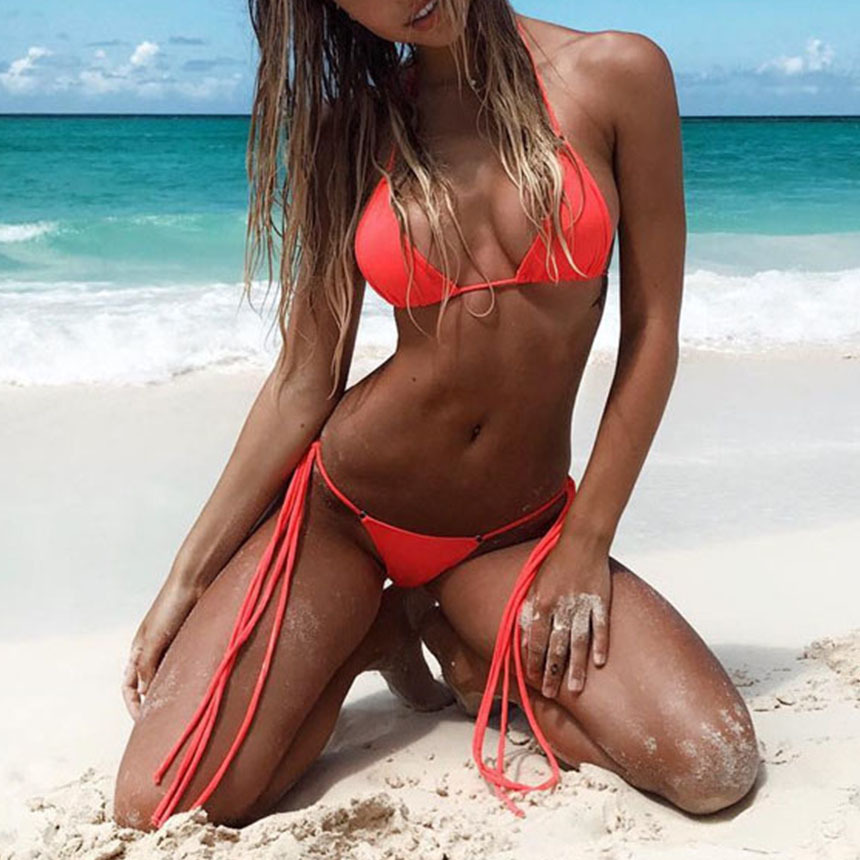 Bikini Swimwear Bathing Swimsuit Bikini Set - Thong Bottom Vintage Female Beachwear With Pad 1