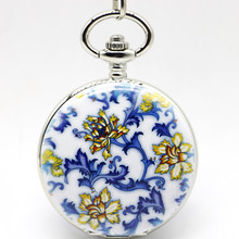 Fashion Ceramics Flower Mechanical Pocket Watch Steampunk Roman Numbers Steel Fob Watches Gifts For Men And