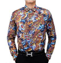 europen and american style 3D printing shirt male self-cultivation stylist personality animal figure SHIRT MENS