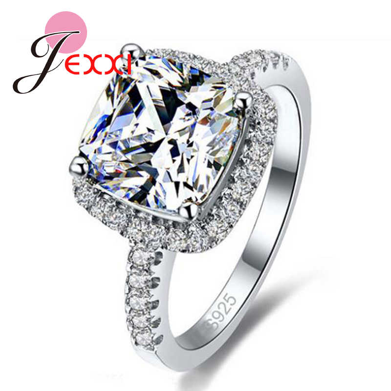 Big Promotion Luxury Geniune 925 Sterling Silver Wedding Engagement Rings Super Shiny Cubic Zirconia Jewelry For Bridal