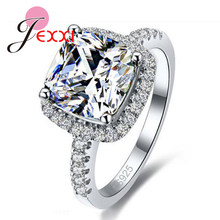Big Promotion Luxury Geniune 925 Sterling Silver Wedding Engagement Rings Super Shiny Cubic Zirconia Jewelry For Bridal(China)
