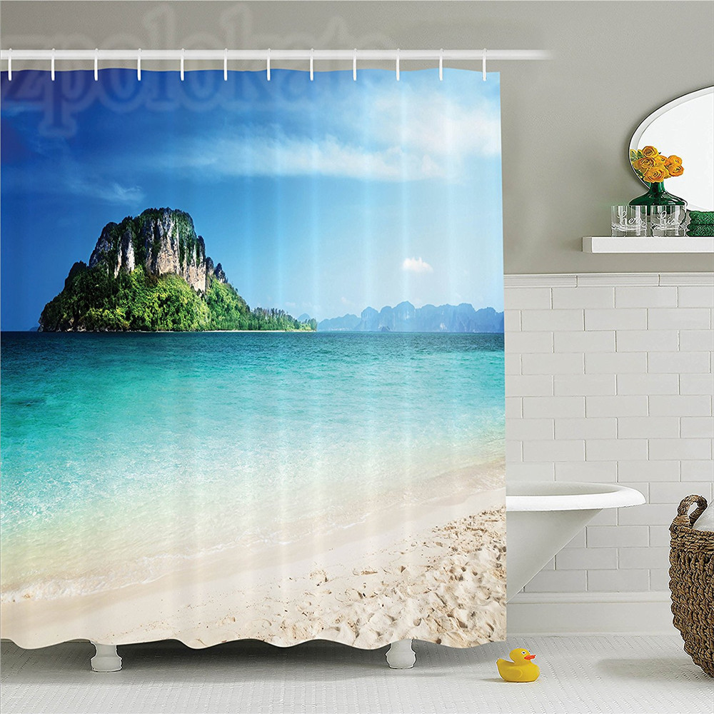 Seaside Decor Shower Curtain Set Grand Cliff In The Crystal Sea Water Tropic Island Scenery With Golden Beach Photo Bathroom