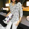 Cockcon verão 2017 letra da cópia da zebra das mulheres chiffon camisa blusa menina manga três quartos botão para baixo blusas tops plus size