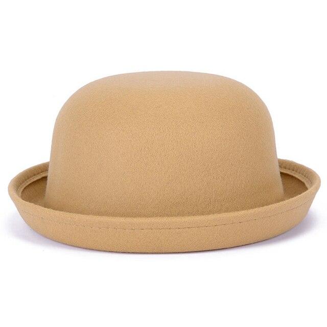 QIUBOSS Women Children Fedora Dome Hat Chapeau Wool Felt Cap Cute Solid Black Bowler Hat Parent-Child Formal Hats QB98