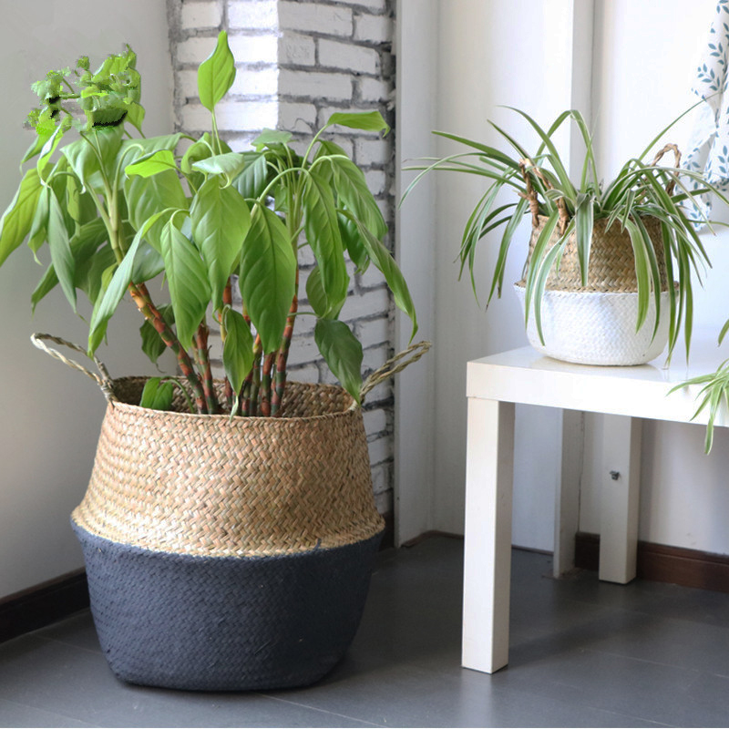 Handmade Bamboo Storage Baskets Foldable Laundry Straw Patchwork Wicker Rattan Seagrass Belly Garden Flower Pot Planter Basket pocket