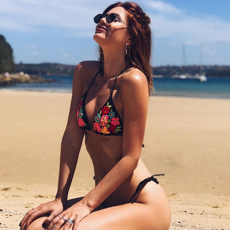 Sexy Summer Women Sets Floral Embroidery Backless Sleeveless Tie Low Waist Two Piece Sets Holiday Beachwear Black