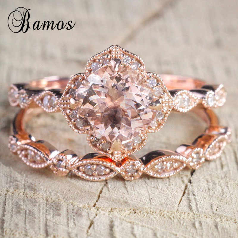 Bamos Vintage Rose Gold Color Cubic Zirconia Ring Set Korean Style