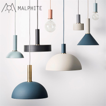 Nordic Pendant lamp Simple restaurant light creative bar bedroom bedside Cafe Iron art macarons single head pendant