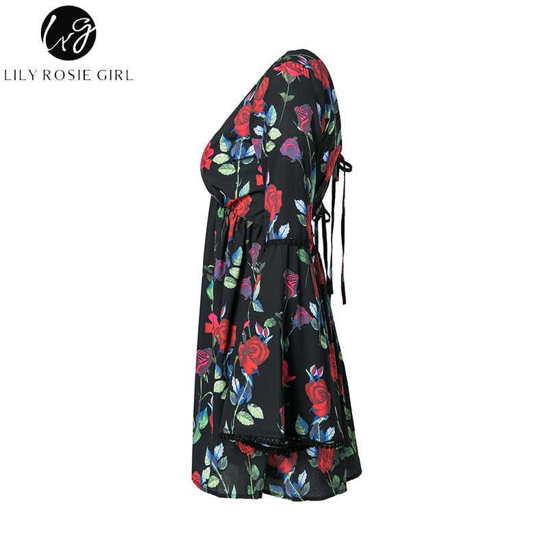 Лили Rosie девушка черный Цветочный принт Для женщин Мини-платья 2018 летние пляжные вечерние пикантные с v-образным вырезом длинными расклешенными рукавами Женский vestido/Платье