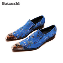 Batzuzhi Italian Type Leather Men's Dress Shoes Pointed Metal Toe Blue Leather Business Shoes Slip on Party and Wedding Zapatos 2018 new sky blue party slip shoe on mature italian shoes with matching bags rhinestones high quality african shoes and bag set
