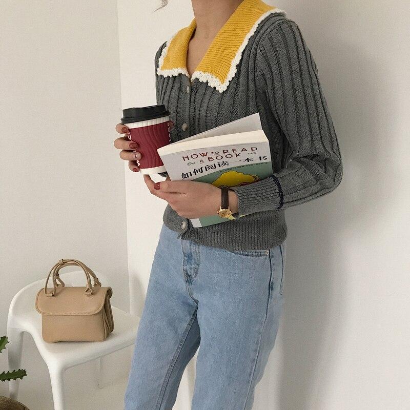 Pengpious 2018 Korean style new fashion female sweater knitting cardigan ruen-down collar patchwork single breastfed sweaters