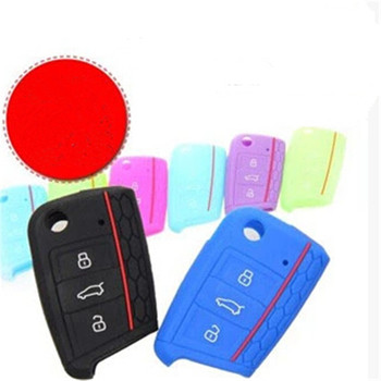Car Key Case For Volkswagen Golf 7 Skoda Octavia A7 Lamando Octavia Yeti Silicone Key Cover 3 Buttons Key Fob Protective Case image