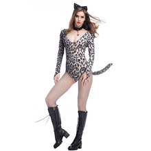 цена Sexy Women Leopard Costume Cosplay Halloween Costume For Women Adult Carnival Party Clothing Suit онлайн в 2017 году