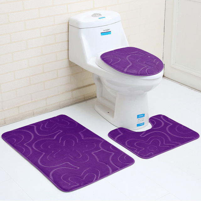 Flannel 3pcs Bathroom Mat Sets Microfiber Geometric Modern Anti Slip Bath Rug And