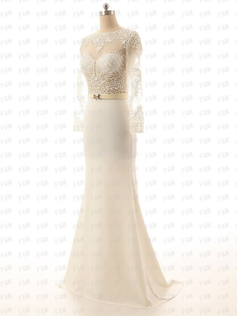 9afd933c634 White Lace Applique Satin Mermaid Wedding Dresses With Long Sleeves Cheap  Long Elegant Gowns Backless Real Pic GL