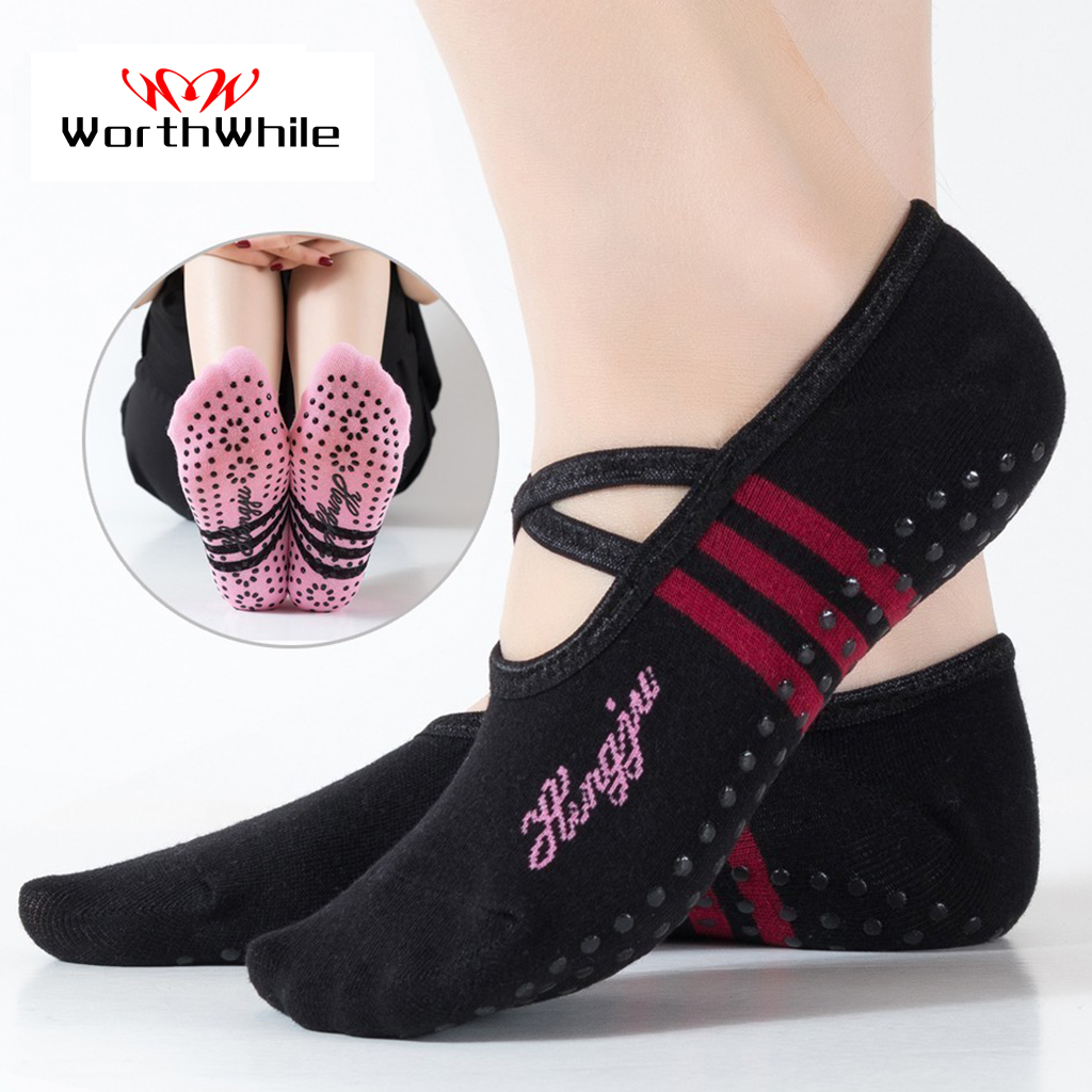WorthWhile 1 Pair Sports Yoga Socks Slipper For Women Anti Slip Lady Damping Bandage Pilates Sock Ballet Heel Dance Protector