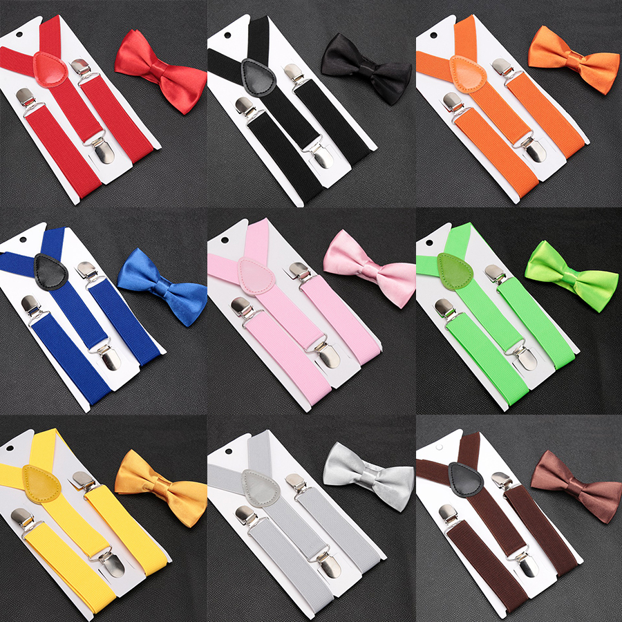 Kids Suspenders With Bowtie Fashion Children Bow Tie Set Boys Braces Girls Adjustable Suspenders Baby Wedding Ties Accessories(China)