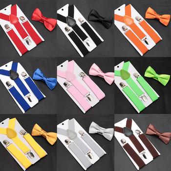 Dziecięce szelki z Bowtie Fashion mucha dziecięca komplet chłopięce szelki dziewczęce regulowane szelki dziecięce krawaty ślubne akcesoria tanie i dobre opinie Unisex spandex Stałe suspenders shirt Moda 65cm Chiny (kontynentalne) 65*2 5CM 10*5CM