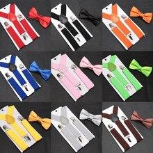 Conjunto de tirantes con pajarita para niños, Tirantes ajustables, accesorios de corbatas de boda para bebés
