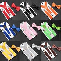 Kids Suspenders with Bowtie Fashion Children Bow Tie Set Boys Braces Girls Adjustable Suspenders Baby Wedding Ties Accessories