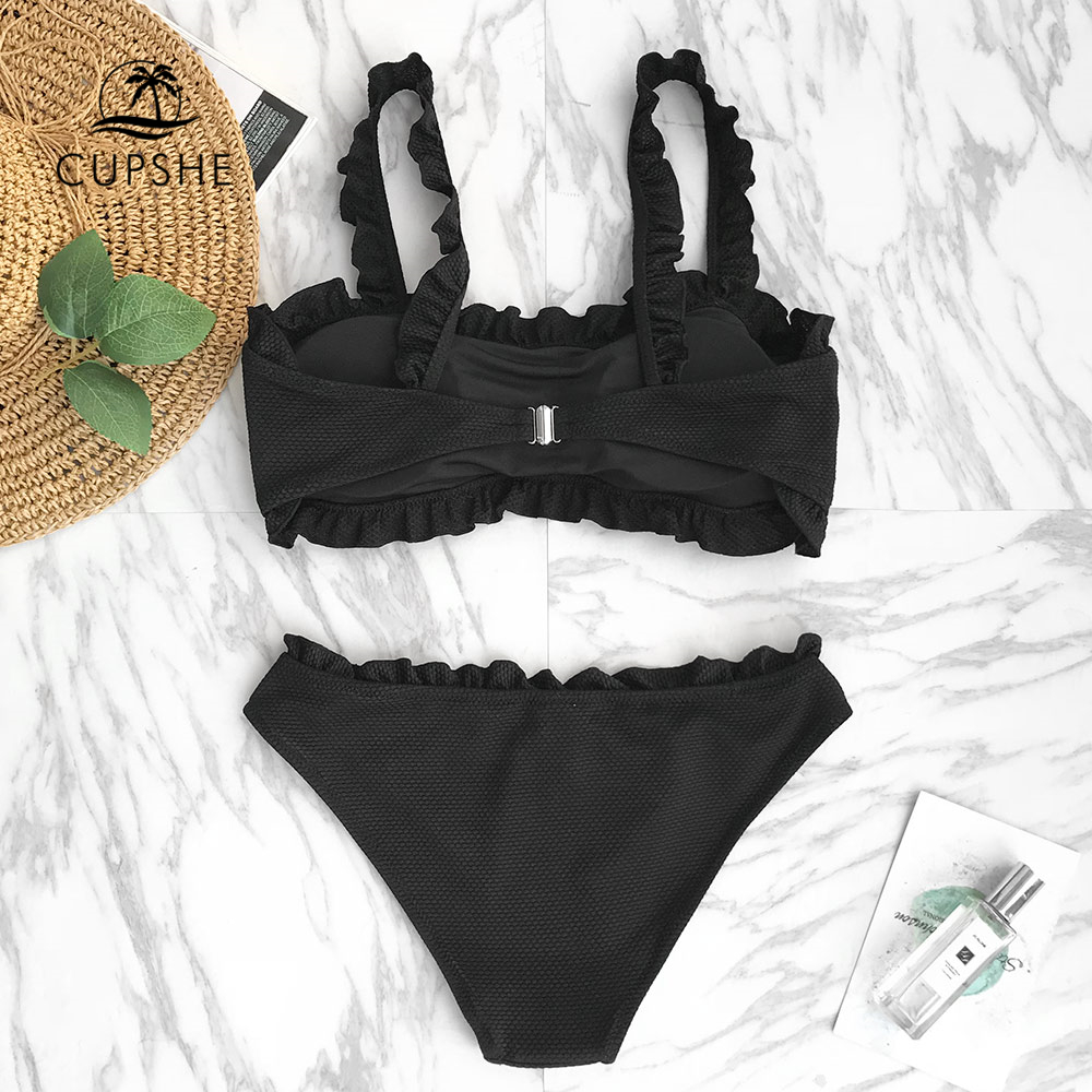 CUPSHE Black Solid Bikini Set Women Plain Ruffle Crop Top Thong Two Pieces Swimwear 2020 Girl Beach Bathing Suits Swimsuits 1