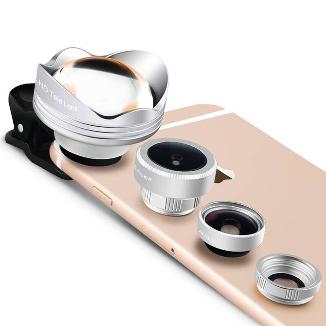 Lentes de ojo de Pez Gran Angular Macro 4 in 1 Schott Vidrio 3X Lente de Telephoto mi5 xiaomi redmi 2 3 s 4 nota 3 mi4 móvil universal clips